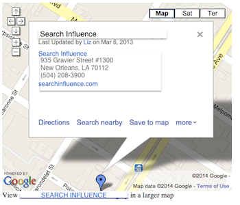 Classic My Maps Embed - Search Influence