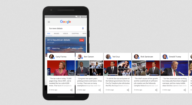 Image of Google's candidate cards - Search Influence