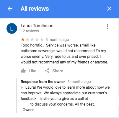Example of a bad user review on a Google My Business listing at Search Influence in New Orleans, LA