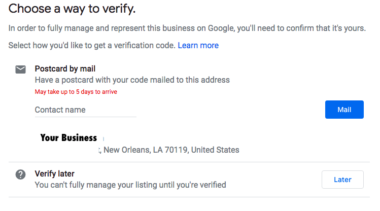 Postcard verification page of Google My Business on a computer screen at Search Influence in New Orleans, LA