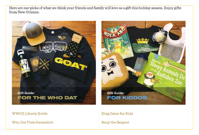 Screenshot of dirty coast website showing recommended holiday gifts for customers' friends and family
