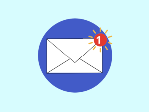 An animated envelope with a notification symbol on the top
