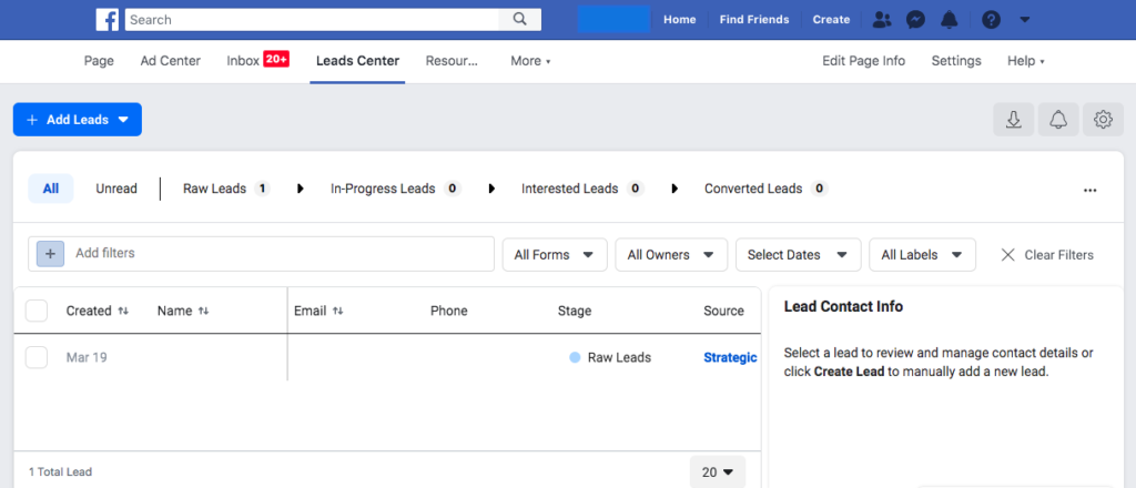 Backend screenshot of new Facebook Leads platform